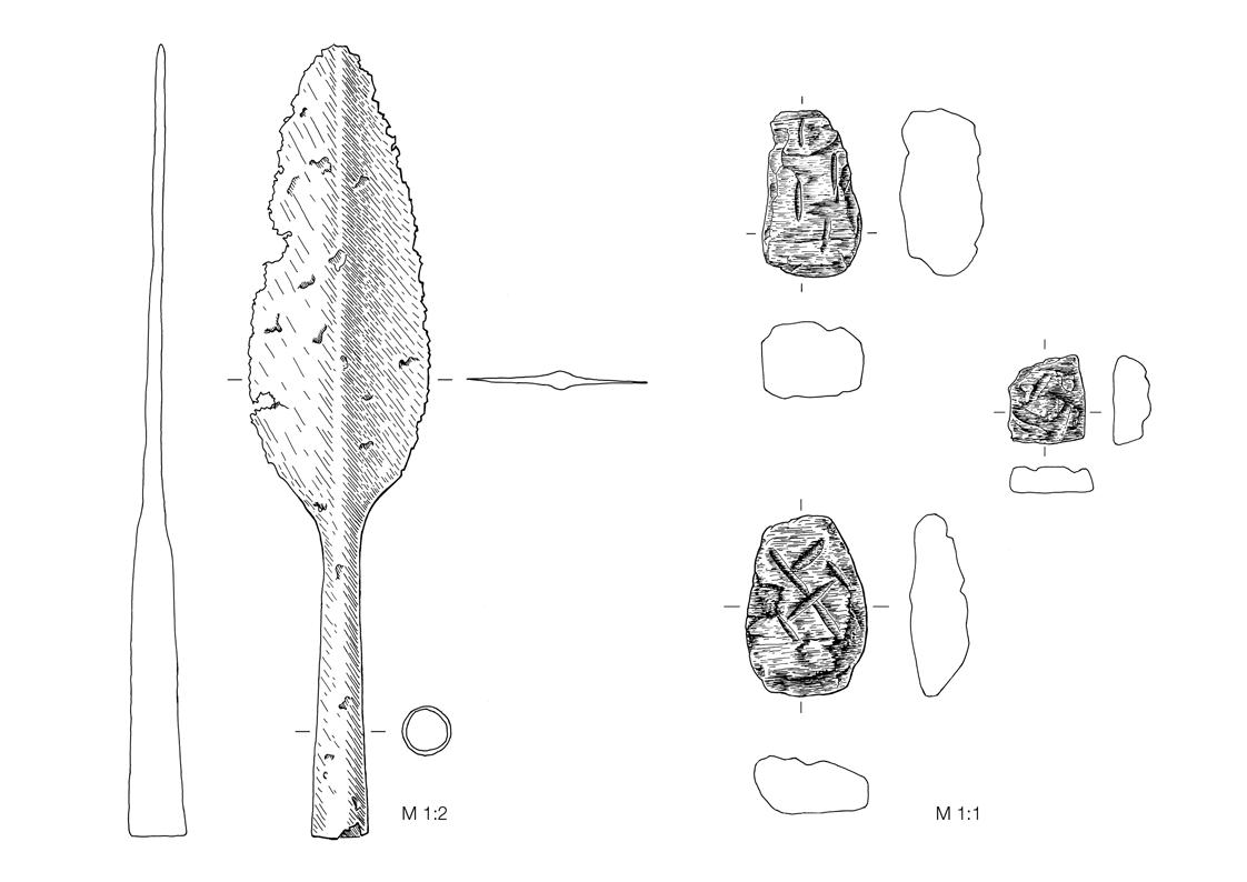 Fundzeichung - Eisenzeitliche Lanzenspitze