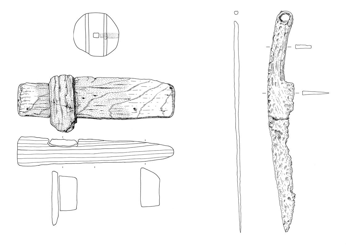 Fundzeichnung - Radfragment aus Holz